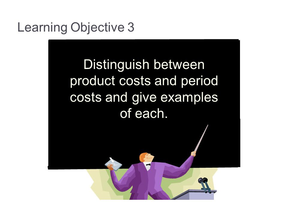 Learning Objective 3 Distinguish between product costs and period costs and give examples of each.