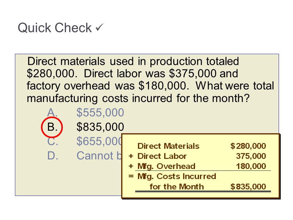 Direct materials used in production totaled $280,000. Direct labor was $375,000 and factory overhead was $180,000. What were total manufacturing costs