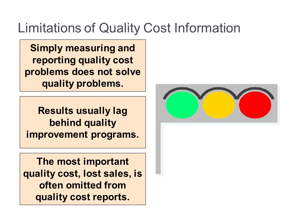 Limitations of Quality Cost Information Simply measuring and reporting quality cost problems does not solve quality problems. Results usually lag behi