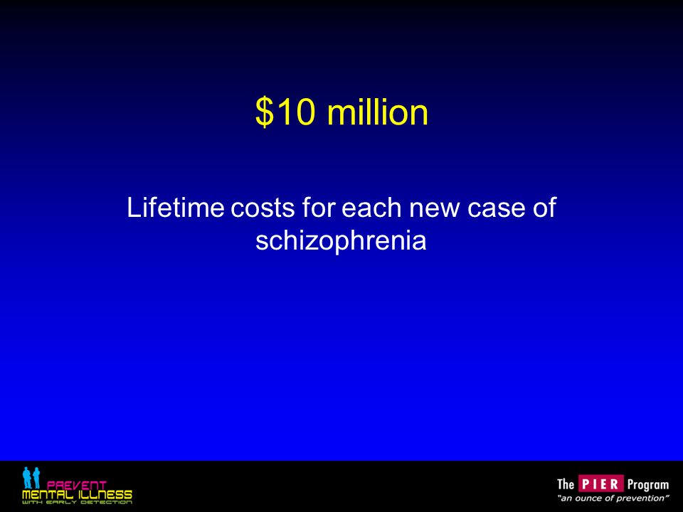 $10 million Lifetime costs for each new case of schizophrenia