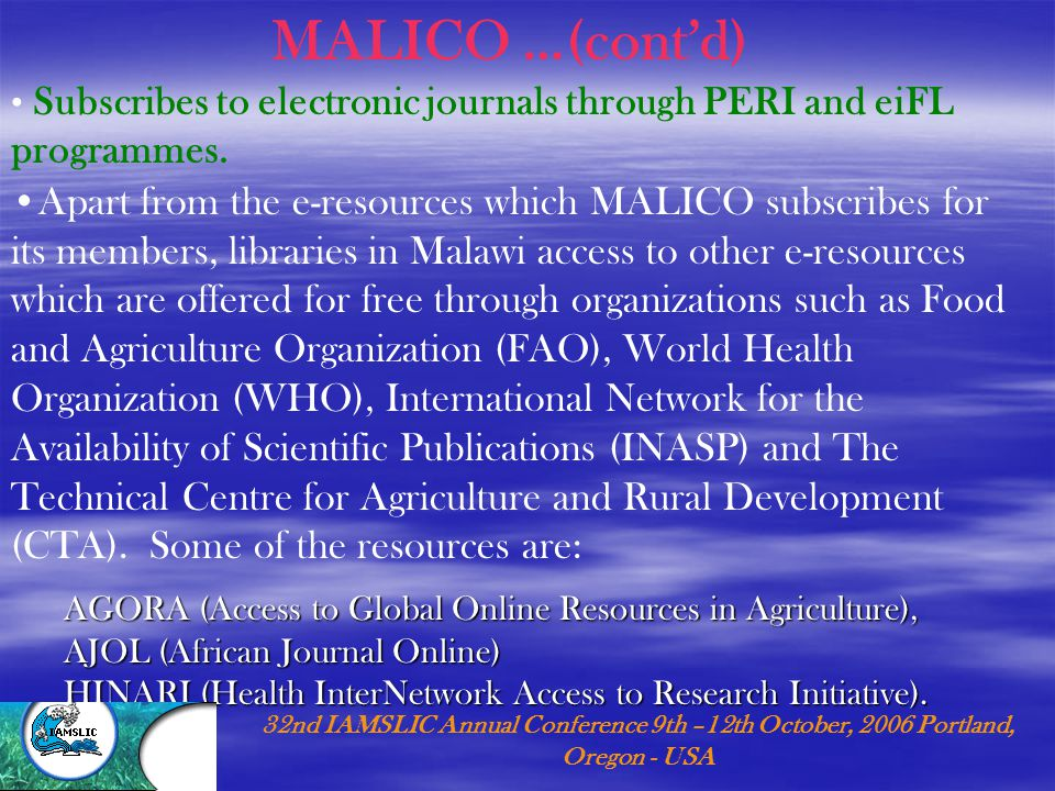 Subscribes to electronic journals through PERI and eiFL programmes.