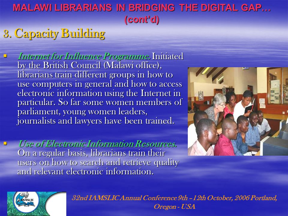 3. Capacity Building  Internet for Influence Programme.