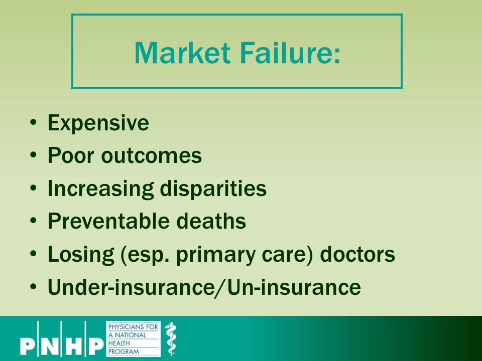 Market Failure: Expensive Poor outcomes Increasing disparities Preventable deaths Losing (esp.