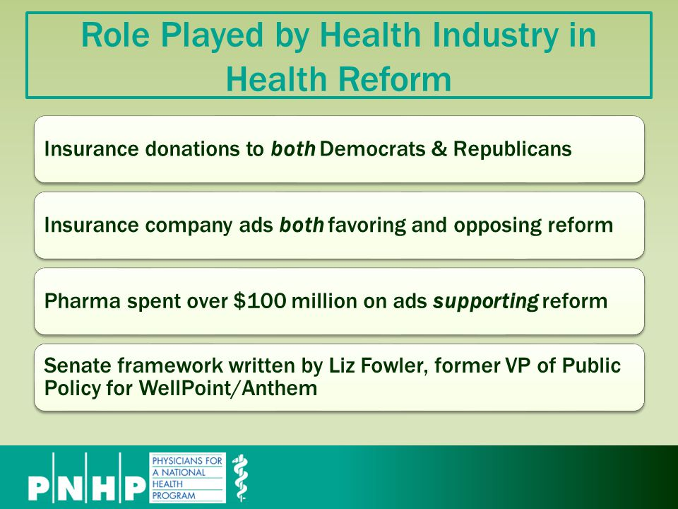 Role Played by Health Industry in Health Reform Insurance donations to both Democrats & RepublicansInsurance company ads both favoring and opposing reformPharma spent over $100 million on ads supporting reform Senate framework written by Liz Fowler, former VP of Public Policy for WellPoint/Anthem