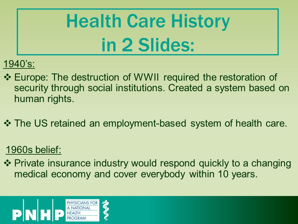 Health Care History in 2 Slides: 1940's:  Europe: The destruction of WWII required the restoration of security through social institutions.