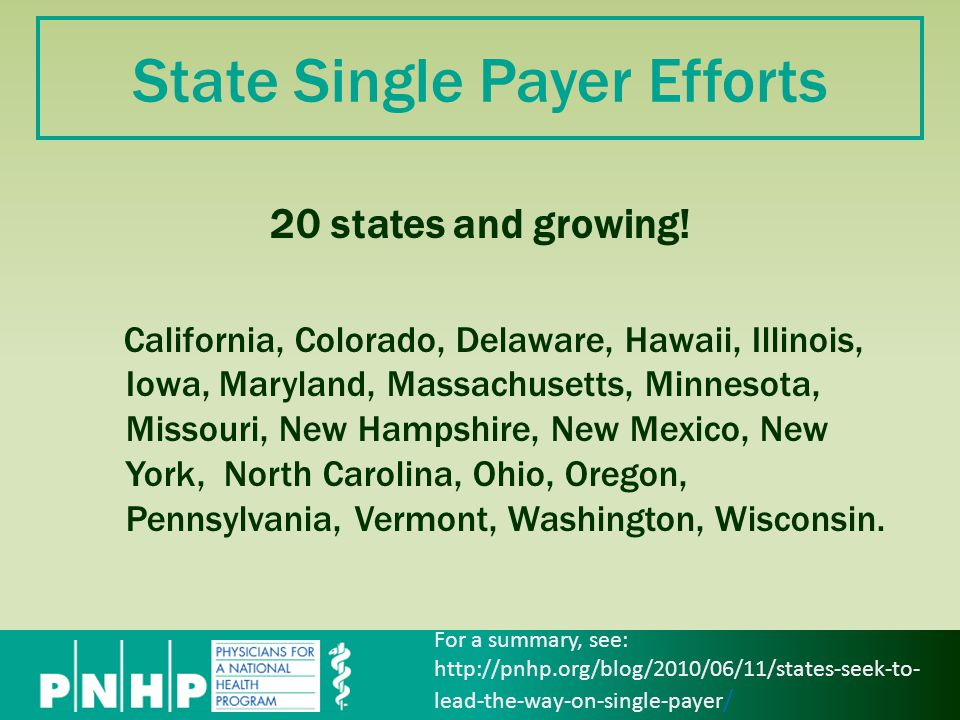 State Single Payer Efforts 20 states and growing.