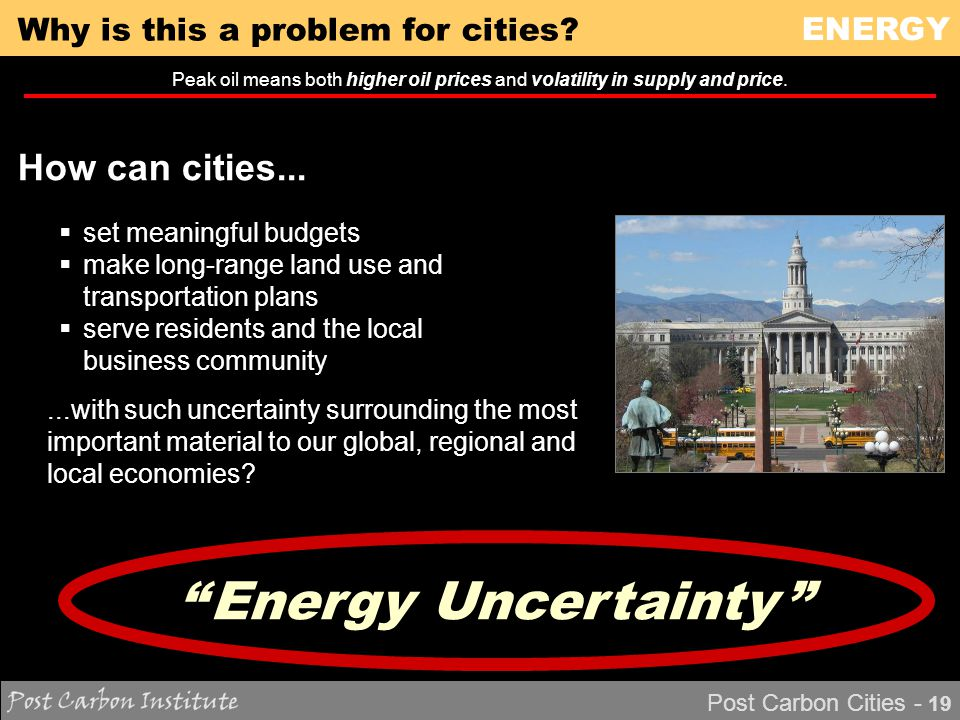 ENERGY Post Carbon Cities - 19 Why is this a problem for cities.