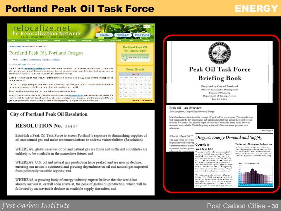 ENERGY Post Carbon Cities - 30 Portland Peak Oil Task Force