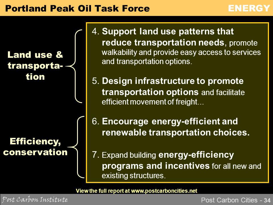 ENERGY Post Carbon Cities - 34 Portland Peak Oil Task Force 4.