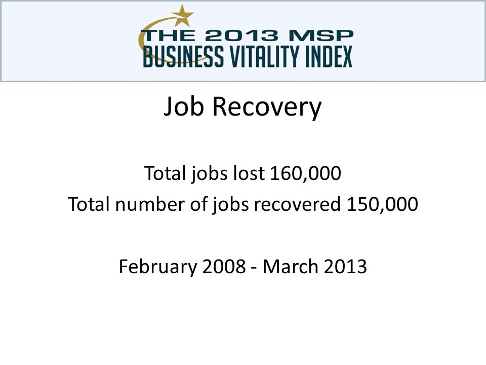 Total jobs lost 160,000 Total number of jobs recovered 150,000 February 2008 - March 2013