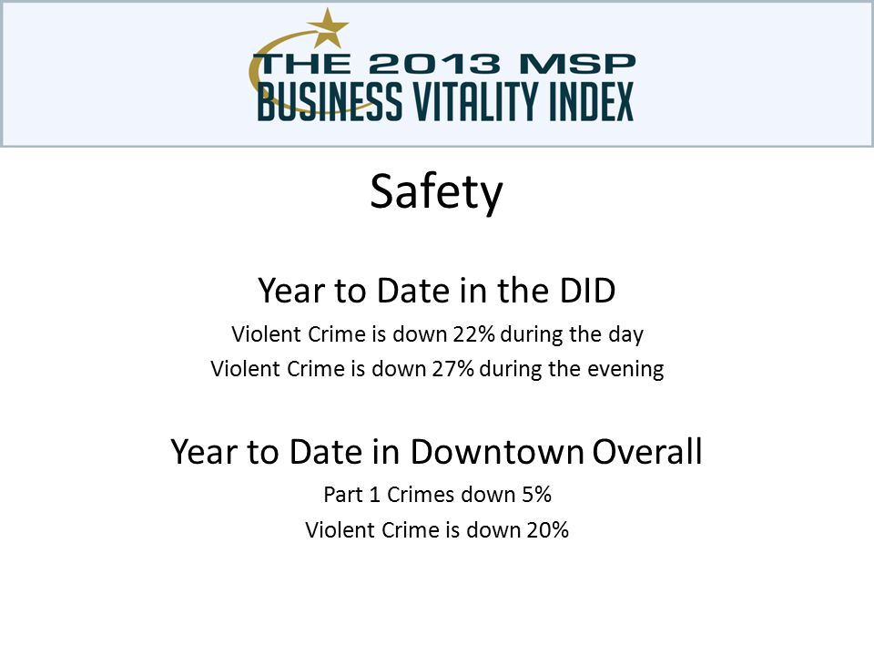 Year to Date in the DID Violent Crime is down 22% during the day Violent Crime is down 27% during the evening Year to Date in Downtown Overall Part 1 Crimes down 5% Violent Crime is down 20%