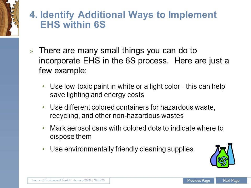 Lean and Environment Toolkit | January 2006 | Slide 26 26 4.