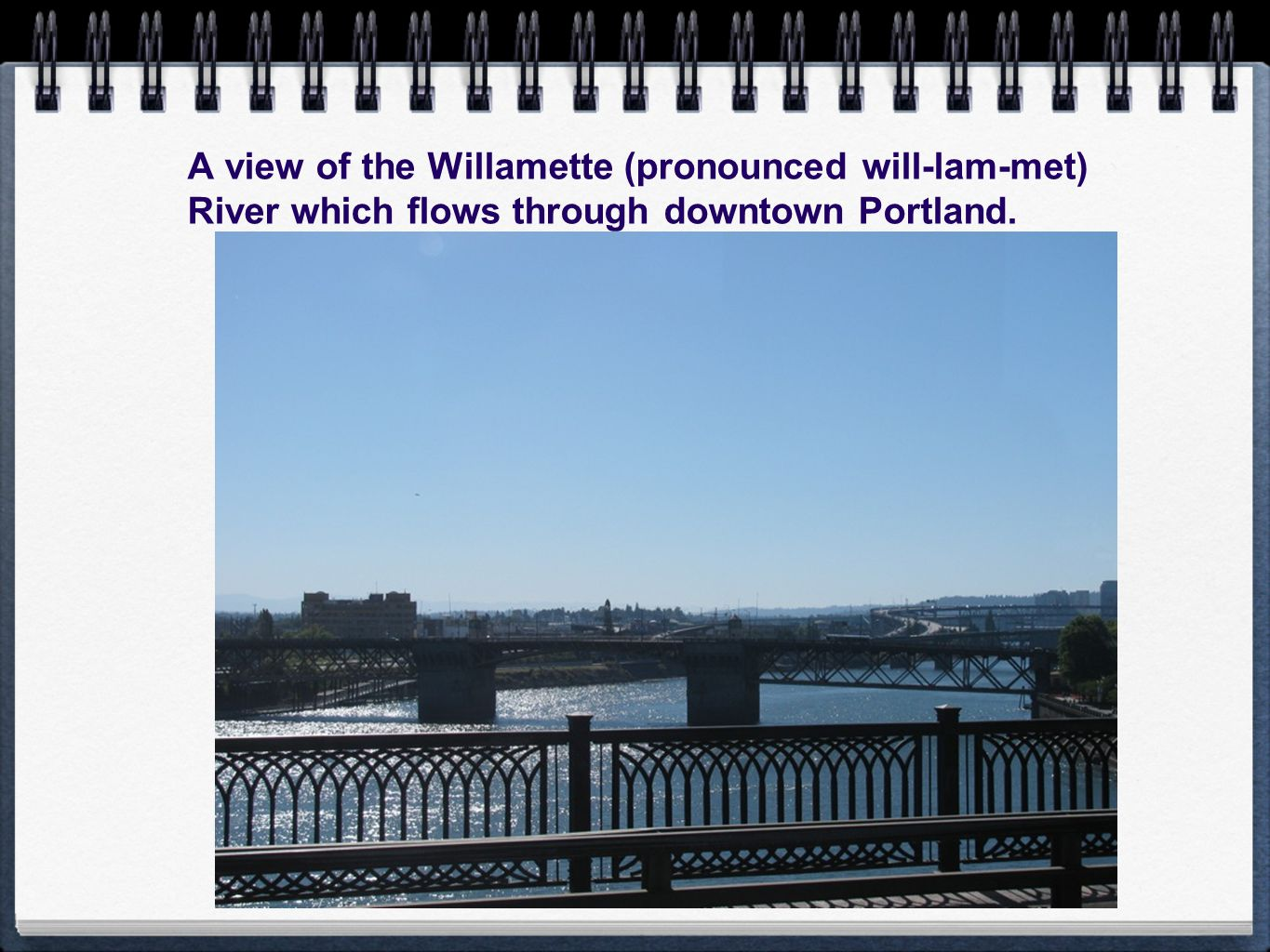 A view of the Willamette (pronounced will-lam-met) River which flows through downtown Portland.