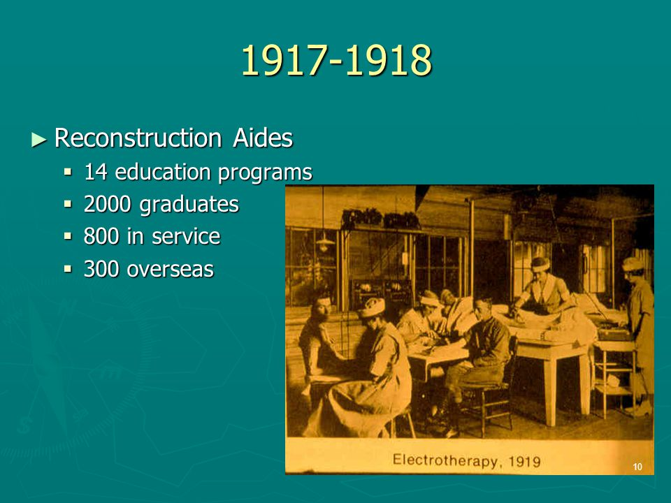1917-1918 ► Reconstruction Aides  14 education programs  2000 graduates  800 in service  300 overseas 10