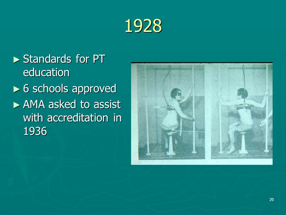 1928 ► Standards for PT education ► 6 schools approved ► AMA asked to assist with accreditation in 1936 20