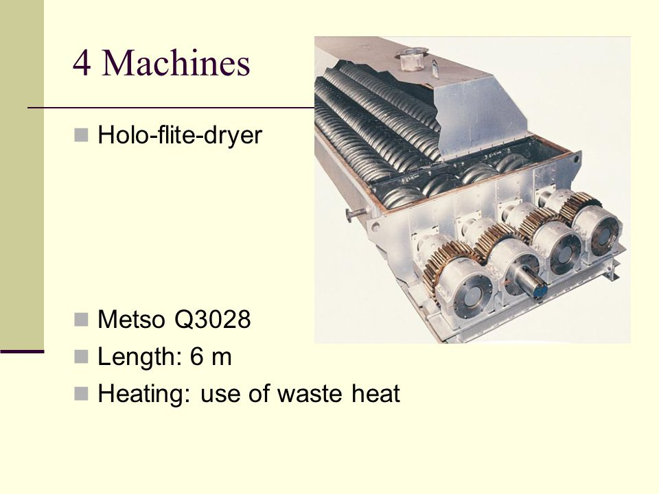 4 Machines Holo-flite-dryer Metso Q3028 Length: 6 m Heating: use of waste heat