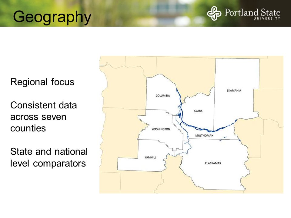 Geography Regional focus Consistent data across seven counties State and national level comparators