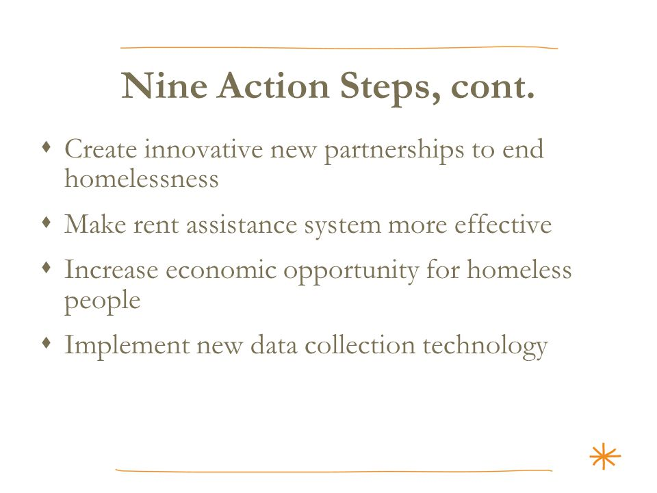 Nine Action Steps, cont.