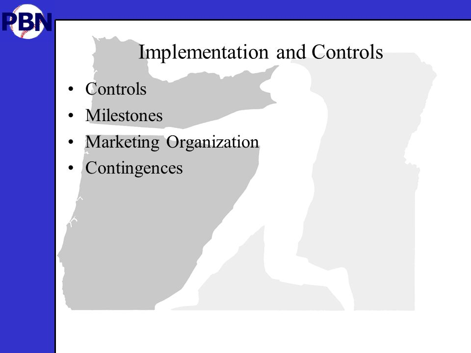 Implementation and Controls Controls Milestones Marketing Organization Contingences