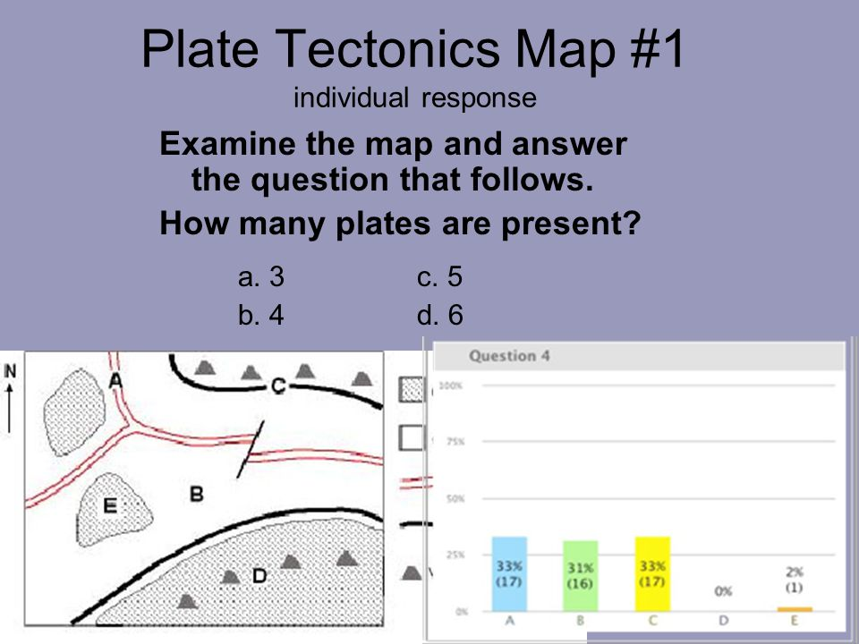 Plate Tectonics Map #1 individual response Examine the map and answer the question that follows.
