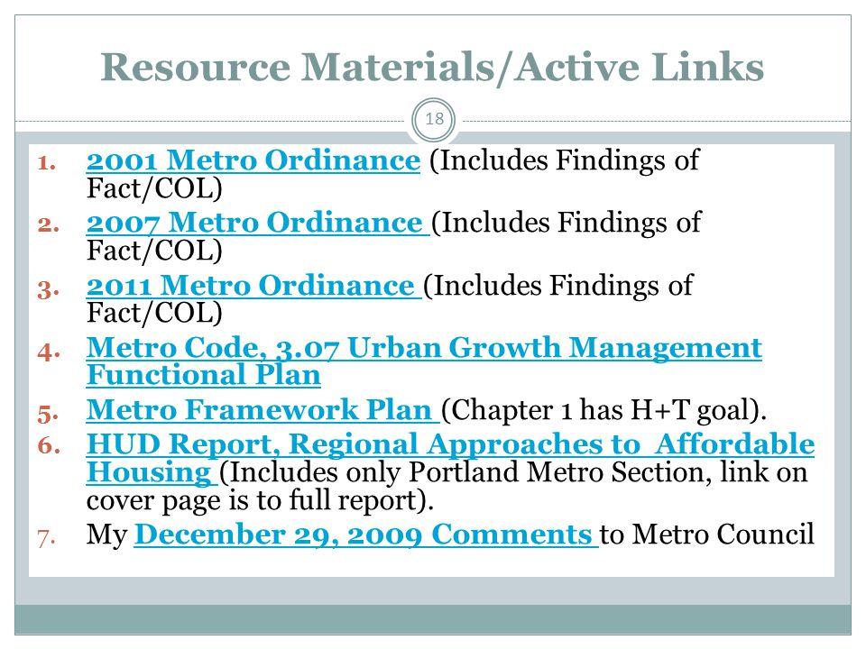 Resource Materials/Active Links 18 1.