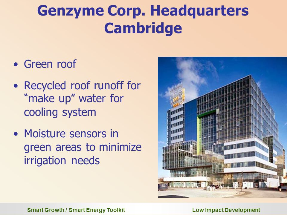 Smart Growth / Smart Energy Toolkit Low Impact Development Genzyme Corp.