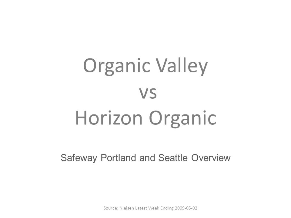 Organic Valley vs Horizon Organic Safeway Portland and Seattle Overview Source: Nielsen Latest Week Ending 2009-05-02