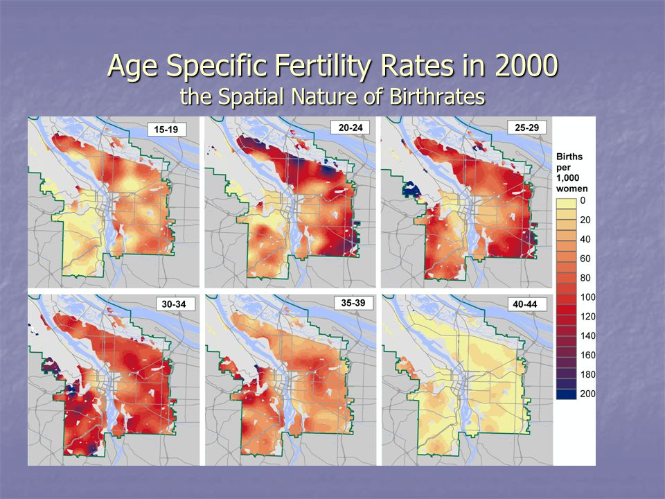 Age Specific Fertility Rates in 2000 the Spatial Nature of Birthrates
