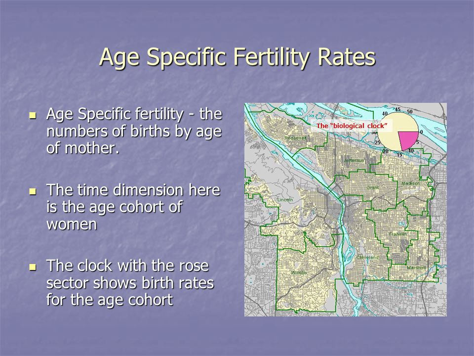Age Specific Fertility Rates Age Specific fertility - the numbers of births by age of mother.