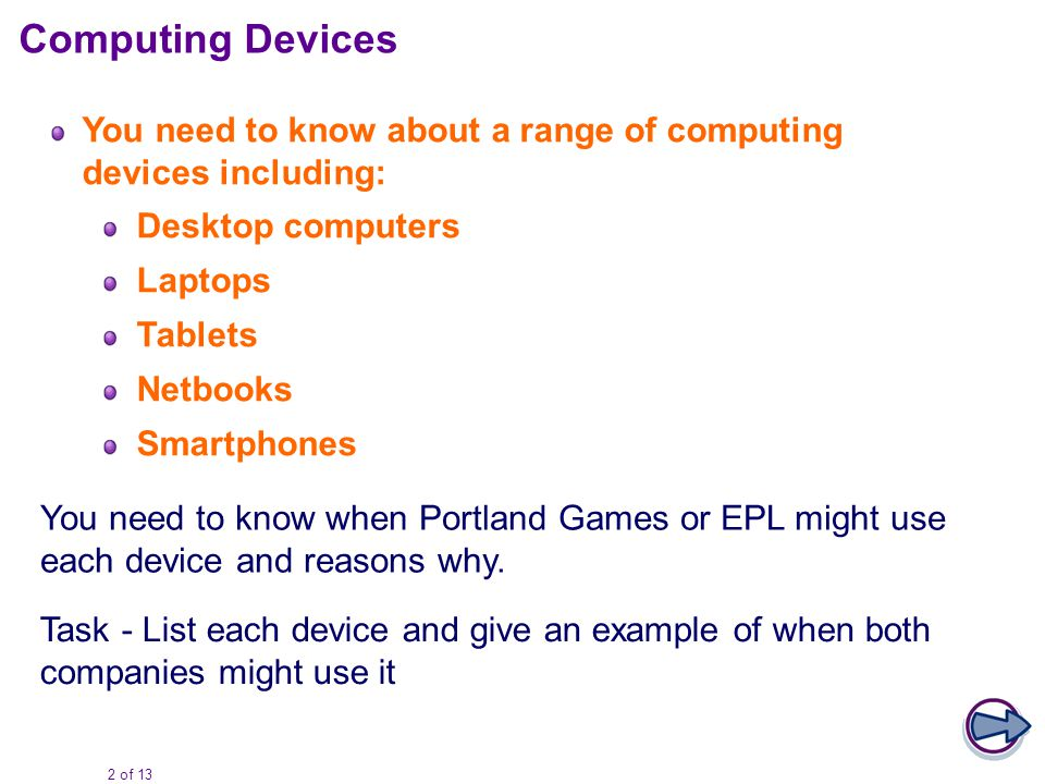 2 of 13 You need to know about a range of computing devices including: Desktop computers Laptops Tablets Netbooks Smartphones Computing Devices You need to know when Portland Games or EPL might use each device and reasons why.