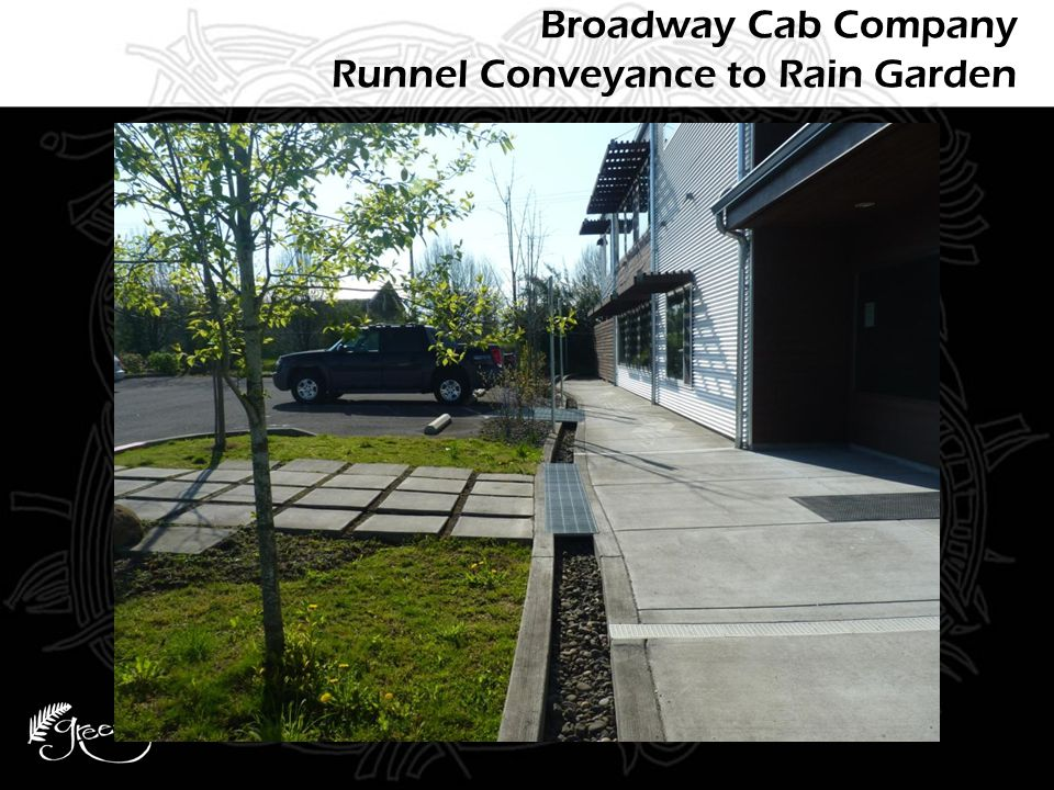 Broadway Cab Company Runnel Conveyance to Rain Garden