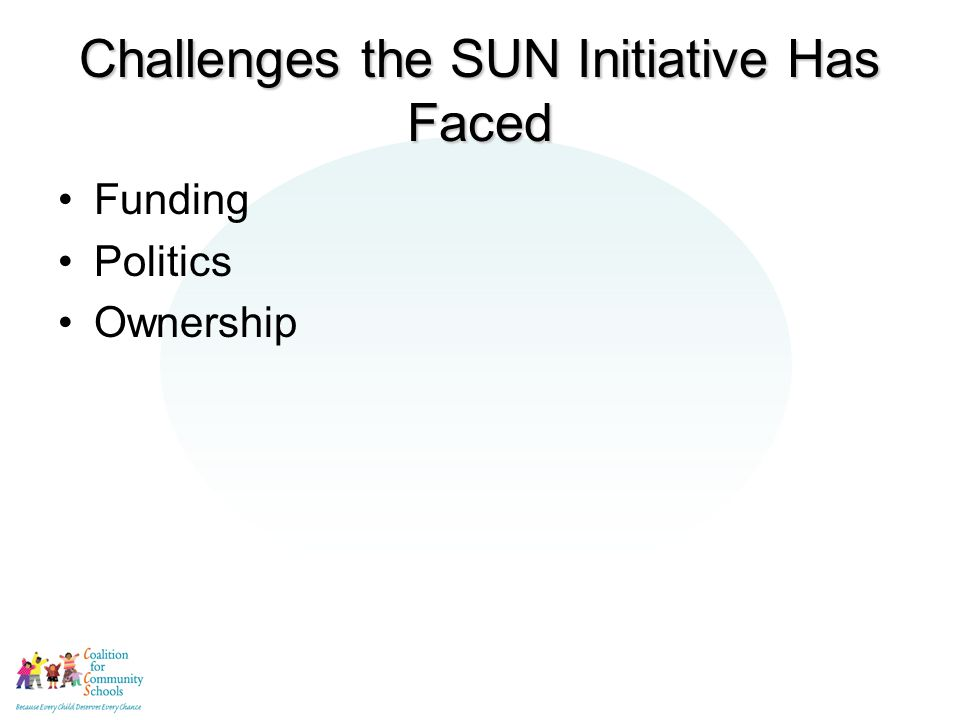 Challenges the SUN Initiative Has Faced Funding Politics Ownership