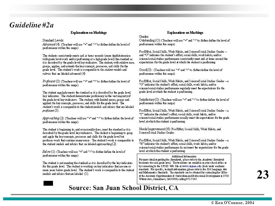 © Ken O'Connor, 2004 Guideline #2a Source: San Juan School District, CA 23