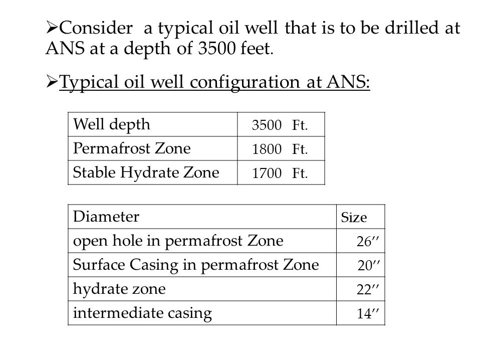  Consider a typical oil well that is to be drilled at ANS at a depth of 3500 feet.