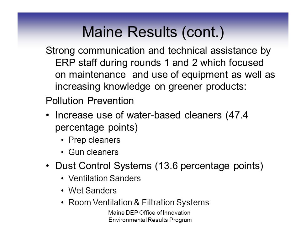 Maine Results (cont.) Strong communication and technical assistance by ERP staff during rounds 1 and 2 which focused on maintenance and use of equipment as well as increasing knowledge on greener products: Pollution Prevention Increase use of water-based cleaners (47.4 percentage points) Prep cleaners Gun cleaners Dust Control Systems (13.6 percentage points) Ventilation Sanders Wet Sanders Room Ventilation & Filtration Systems Maine DEP Office of Innovation Environmental Results Program