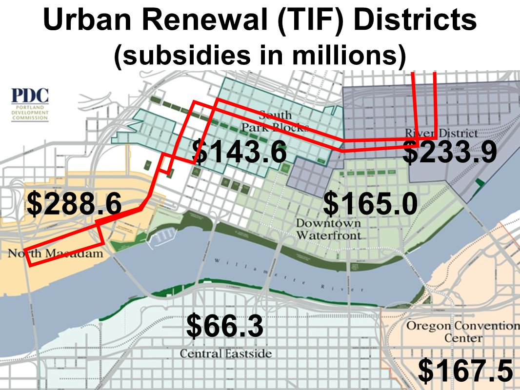 $288.6 $167.5 $233.9 $66.3 $165.0 $143.6 Urban Renewal (TIF) Districts (subsidies in millions)