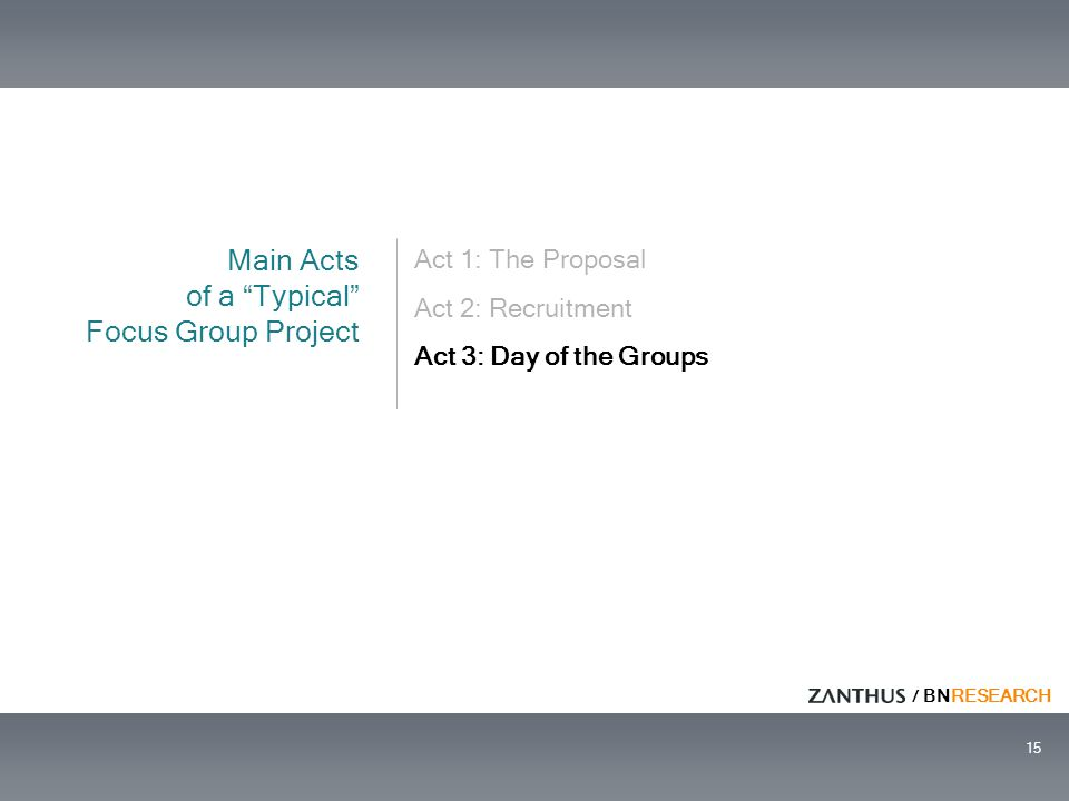 "/ BNRESEARCH 15 Act 1: The Proposal Act 2: Recruitment Act 3: Day of the Groups Main Acts of a ""Typical"" Focus Group Project"