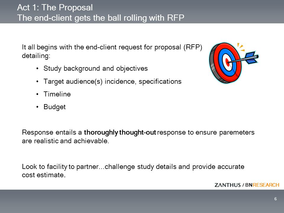 / BNRESEARCH 6 Act 1: The Proposal The end-client gets the ball rolling with RFP It all begins with the end-client request for proposal (RFP) detailin