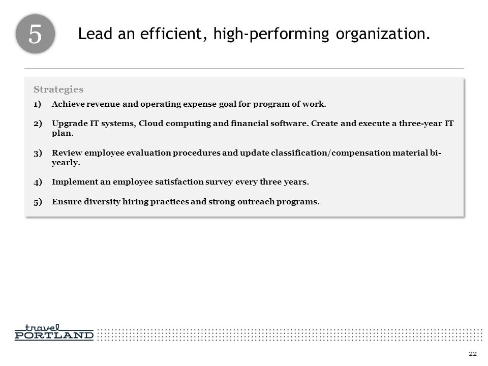 Lead an efficient, high-performing organization. Strategies 1)Achieve revenue and operating expense goal for program of work. 2)Upgrade IT systems, Cl