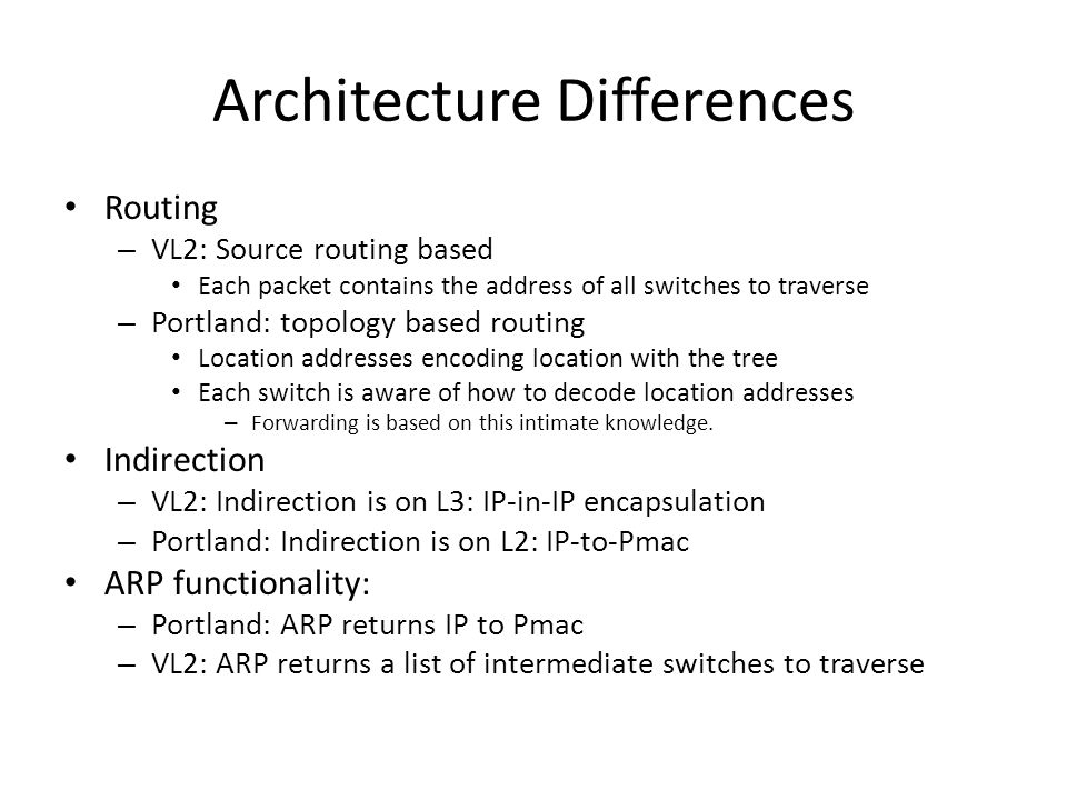 Architecture Differences Routing – VL2: Source routing based Each packet contains the address of all switches to traverse – Portland: topology based routing Location addresses encoding location with the tree Each switch is aware of how to decode location addresses – Forwarding is based on this intimate knowledge.