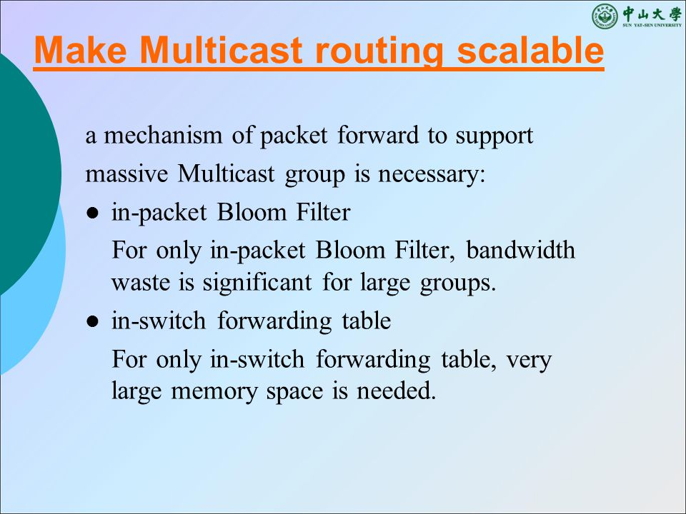 a mechanism of packet forward to support massive Multicast group is necessary: in-packet Bloom Filter For only in-packet Bloom Filter, bandwidth waste is significant for large groups.