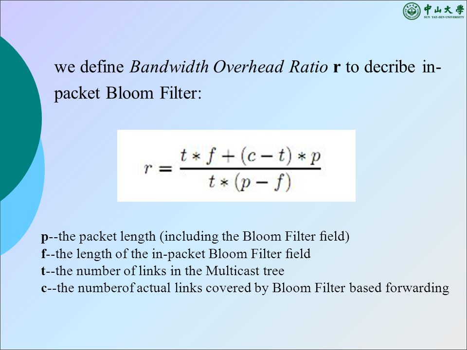 we define Bandwidth Overhead Ratio r to decribe in- packet Bloom Filter: p--the packet length (including the Bloom Filter field) f--the length of the in-packet Bloom Filter field t--the number of links in the Multicast tree c--the numberof actual links covered by Bloom Filter based forwarding