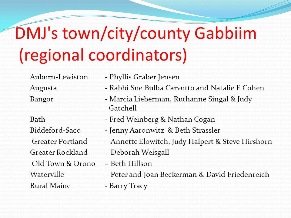 DMJ's town/city/county Gabbiim (regional coordinators) Auburn-Lewiston - Phyllis Graber Jensen Augusta - Rabbi Sue Bulba Carvutto and Natalie E Cohen