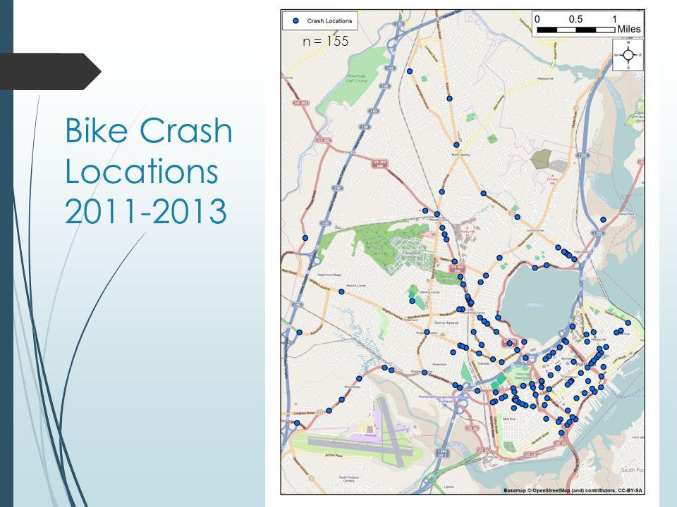 Bike Crash Locations 2011-2013 n = 155