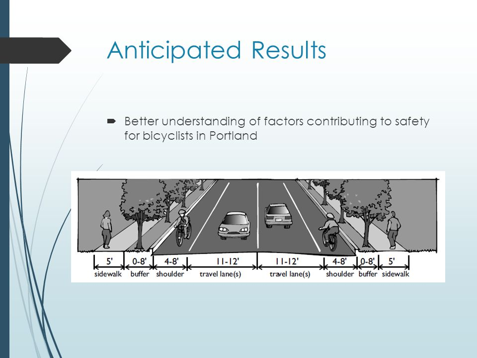 Anticipated Results  Better understanding of factors contributing to safety for bicyclists in Portland