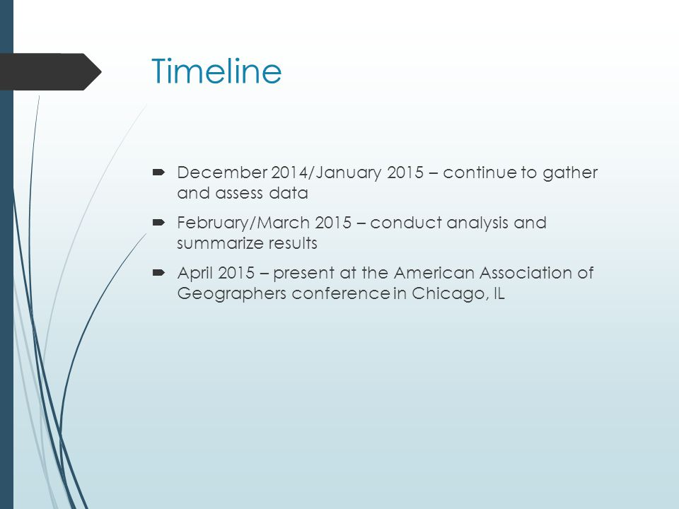 Timeline  December 2014/January 2015 – continue to gather and assess data  February/March 2015 – conduct analysis and summarize results  April 2015 – present at the American Association of Geographers conference in Chicago, IL