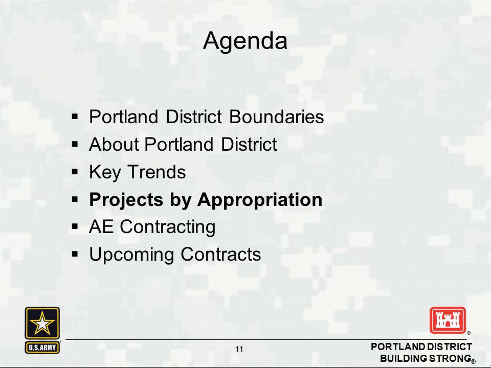 BUILDING STRONG ® PORTLAND DISTRICT 11  Portland District Boundaries  About Portland District  Key Trends  Projects by Appropriation  AE Contracting  Upcoming Contracts Agenda