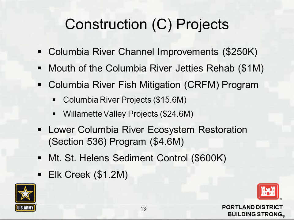 BUILDING STRONG ® PORTLAND DISTRICT 13  Columbia River Channel Improvements ($250K)  Mouth of the Columbia River Jetties Rehab ($1M)  Columbia River Fish Mitigation (CRFM) Program  Columbia River Projects ($15.6M)  Willamette Valley Projects ($24.6M)  Lower Columbia River Ecosystem Restoration (Section 536) Program ($4.6M)  Mt.