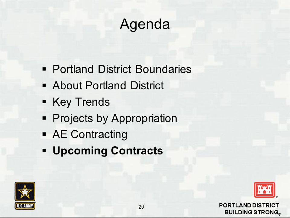 BUILDING STRONG ® PORTLAND DISTRICT 20  Portland District Boundaries  About Portland District  Key Trends  Projects by Appropriation  AE Contracting  Upcoming Contracts Agenda