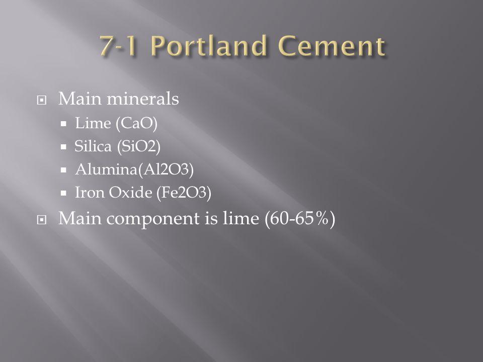  Main minerals  Lime (CaO)  Silica (SiO2)  Alumina(Al2O3)  Iron Oxide (Fe2O3)  Main component is lime (60-65%)
